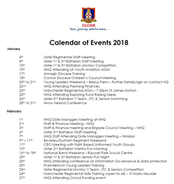 Diary of events for 2018