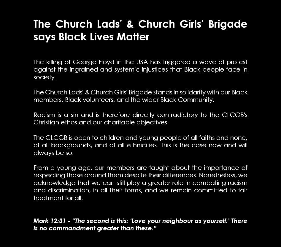 A statement from the Church Lads' & Church Girls' Brigade on #BlackLivesMatter